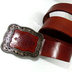 VTG~Genuine Heavy Leather Belt and Buckle ~ 37.5""